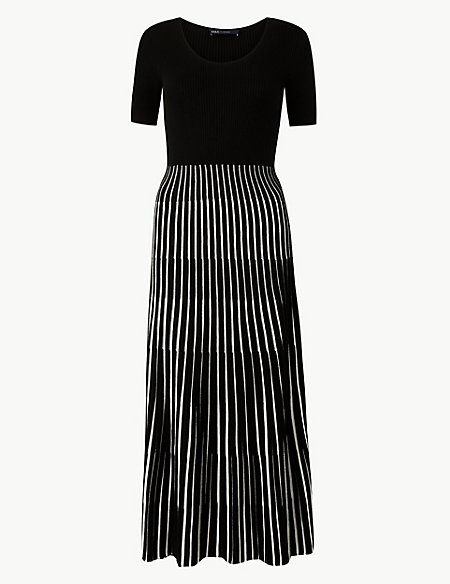 Ribbed Striped Knitted Dress