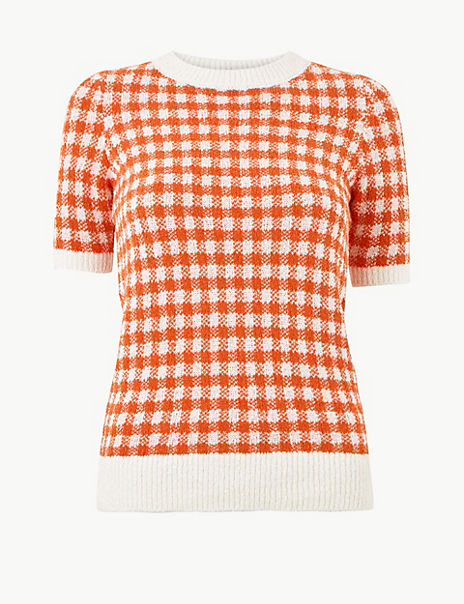 Checked Round Neck Short Sleeve Knitted Top