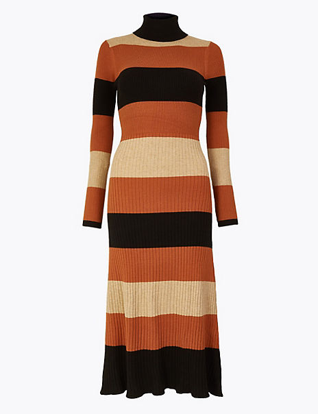 Striped Ribbed Fit & Flare Knitted Dress