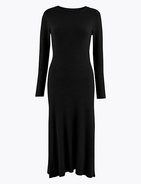 Ribbed Fit & Flare Knitted Midi Dress