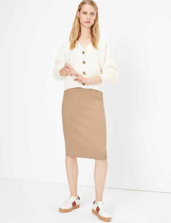 97cf54691 Knitted Pencil Midi Skirt