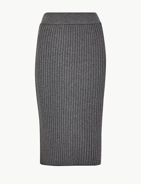 Knitted Pencil Midi Skirt