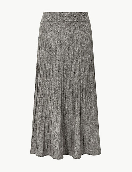 Textured Knitted Midi Skirt