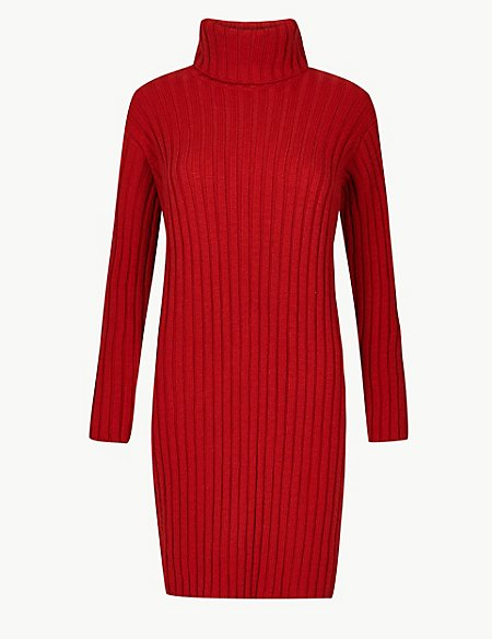 Ribbed Roll Neck Knitted Dress