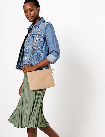 Ribbed Mock Wrap Midi Knitted Dress