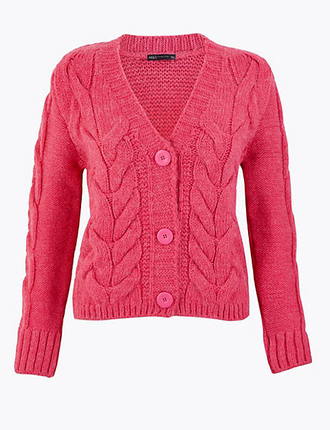 Cable Knit V-Neck Cropped Cardigan