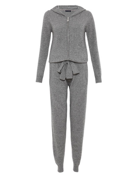 Pure Cashmere Hooded Knitted Onesie