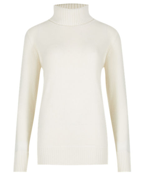 Pure Cashmere Ribbed Polo Neck Jumper