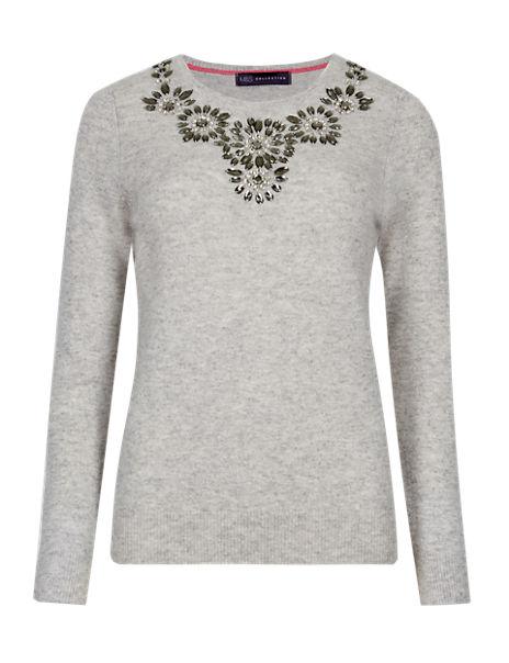 Pure Cashmere Jewel Embellished Jumper