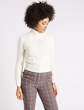 Boucle Turtle Neck Long Sleeve Jumper
