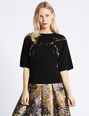 Embellished Round Neck Jumper, BLACK, catlanding