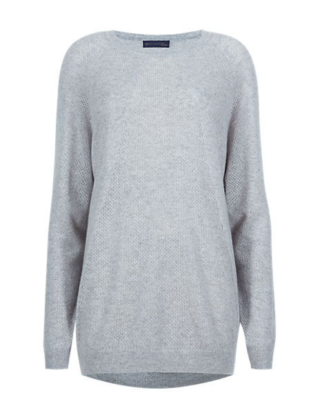 Pure Cashmere Round Neck Perforated Jumper