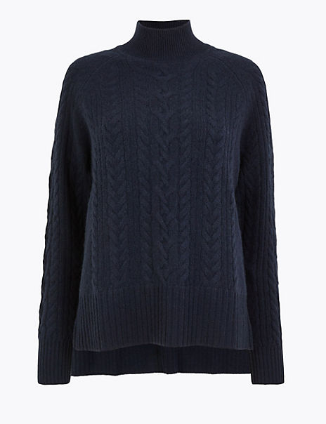Pure Cashmere Relaxed Fit Cable Knit Jumper