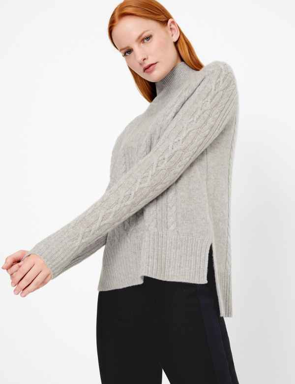 b5b9dc6fe1bd2 Pure Cashmere Relaxed Fit Cable Knit Jumper