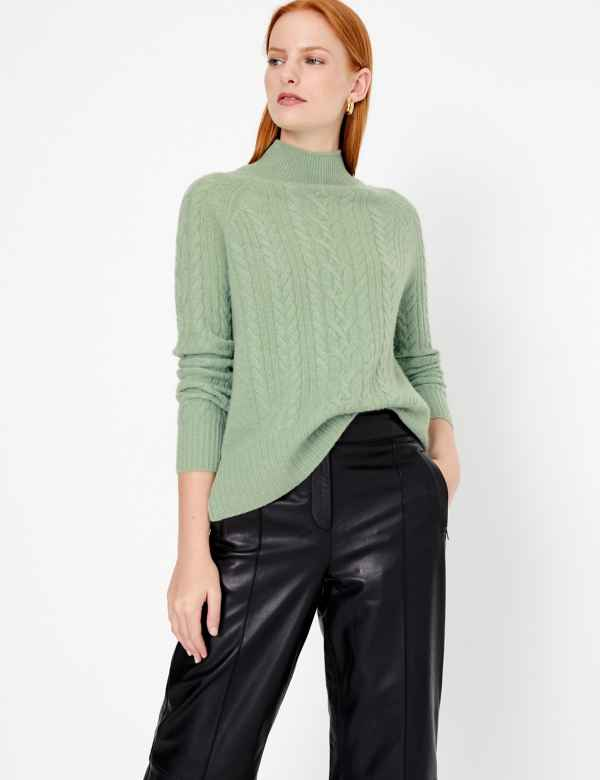 d6f4a2152c243f Pure Cashmere Relaxed Fit Cable Knit Jumper