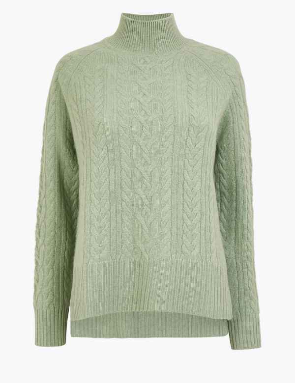 0c7c6686661737 Pure Cashmere Relaxed Fit Cable Knit Jumper
