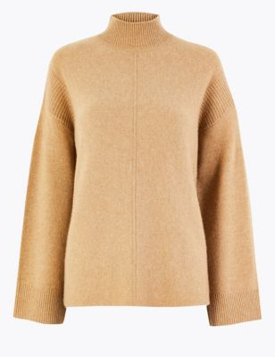 Cashmere Funnel Neck Relaxed Fit Jumper by Marks & Spencer