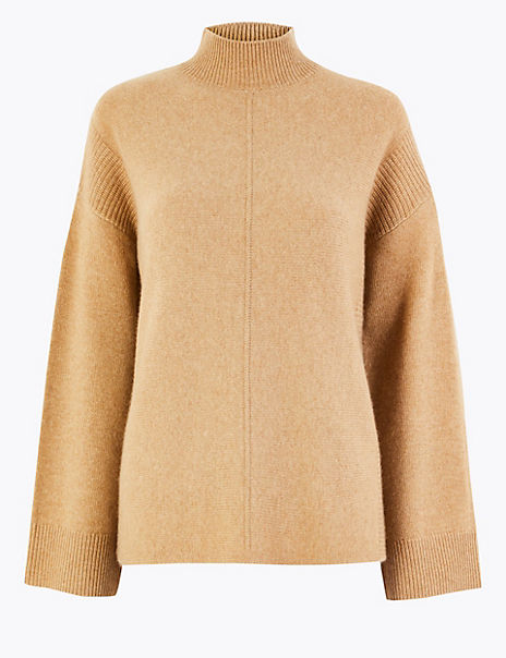 Cashmere Funnel Neck Relaxed Fit Jumper