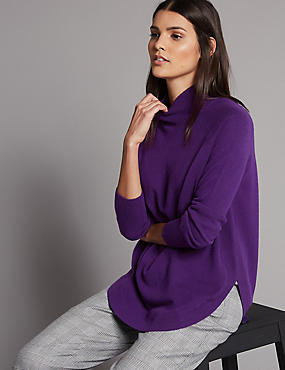 Pure Cashmere Curved Hem Funnel Neck Jumper, PURPLE, catlanding