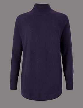 Pure Cashmere Curved Hem Funnel Neck Jumper, DEEP PURPLE, catlanding
