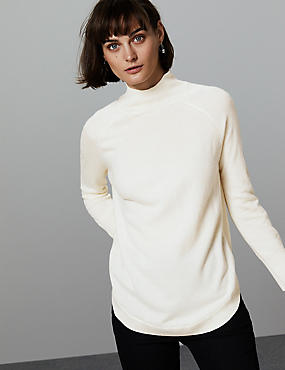 Pure Cashmere Curved Hem Funnel Neck Jumper, , catlanding