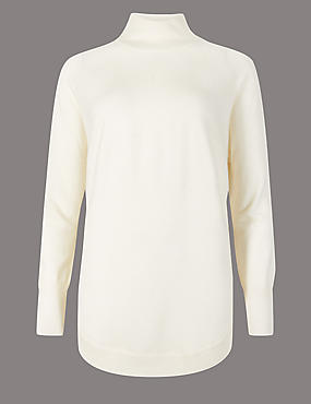 Pure Cashmere Curved Hem Funnel Neck Jumper, CREAM MIX, catlanding