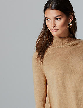 Pure Cashmere Curved Hem Funnel Neck Jumper