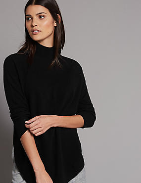 Pure Cashmere Curved Hem Funnel Neck Jumper, BLACK, catlanding