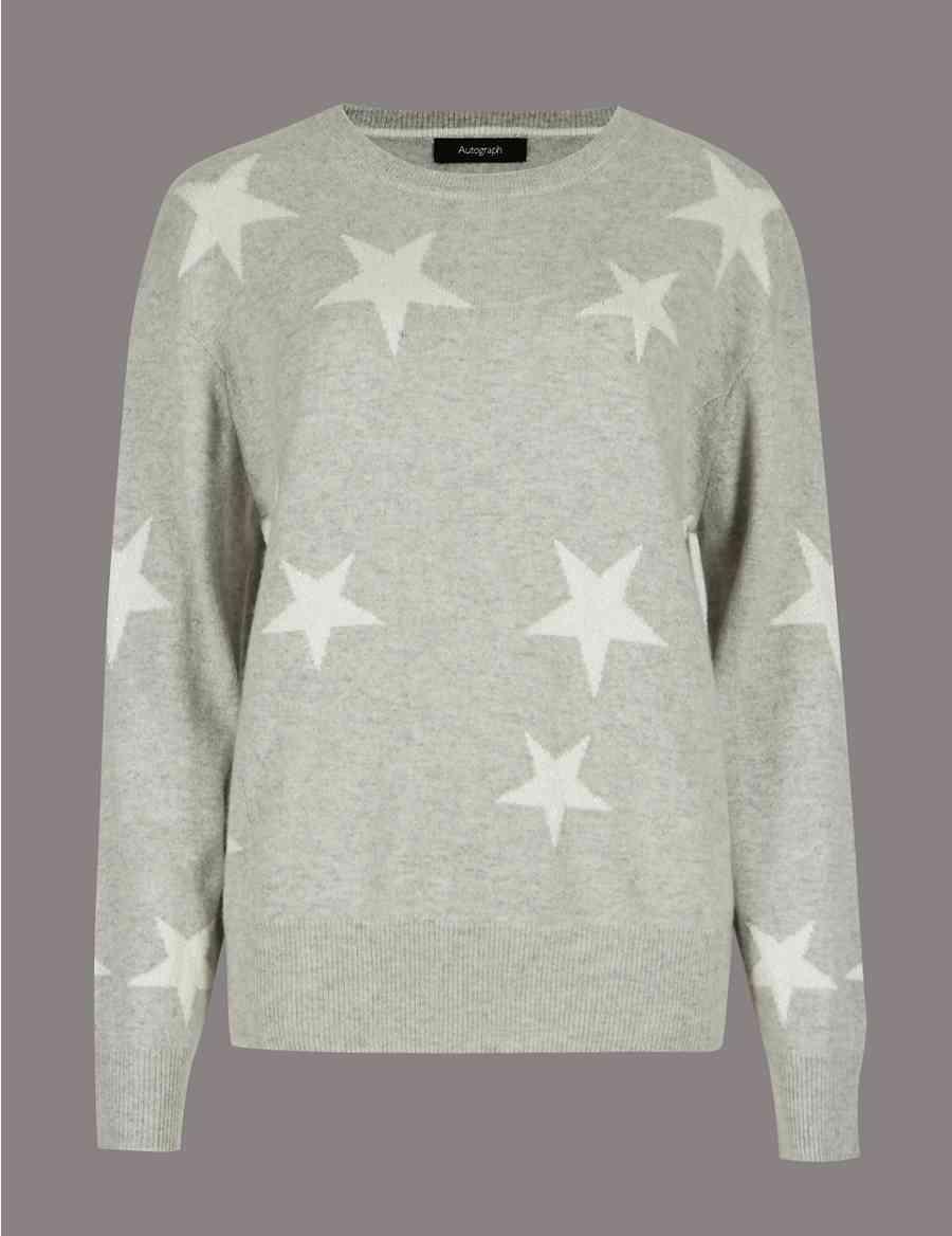 6ff7469b00 Pure Cashmere Star Print Round Neck Jumper