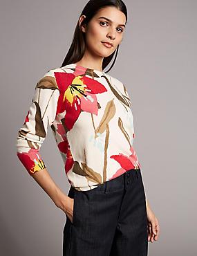 Pure Cashmere Floral Print Jumper , CREAM MIX, catlanding