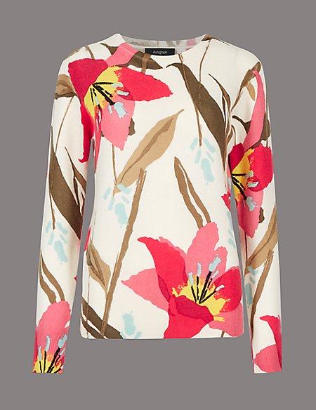 Pure Cashmere Floral Print Jumper