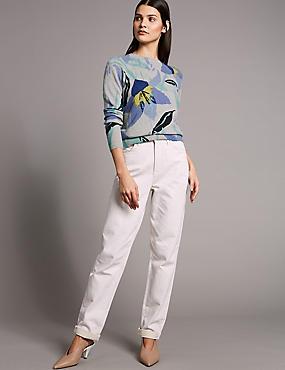 Pure Cashmere Floral Print Jumper , BLUEBELL MIX, catlanding