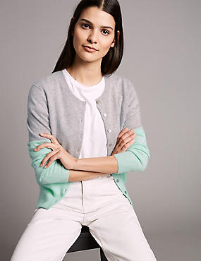 Pure Cashmere Colour Block Cardigan , JADE MIX, catlanding