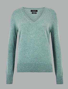 Pure Cashmere V-Neck Jumper, BLUE/GREEN, catlanding