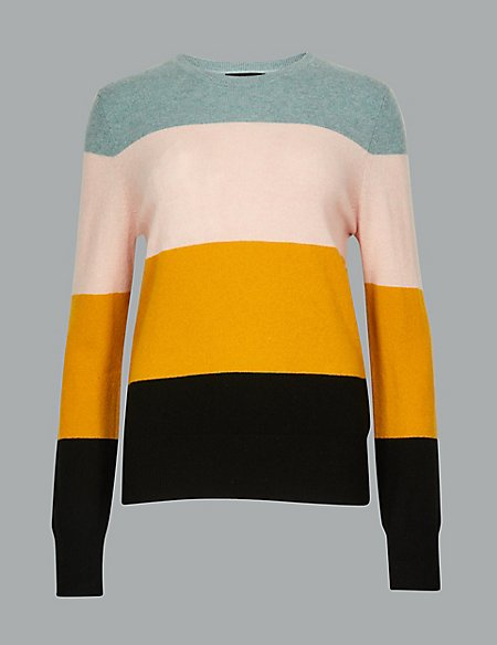 Pure Cashmere Colour Block Jumper