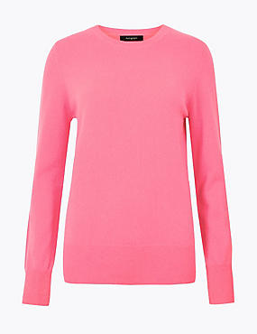Pure Cashmere Round Neck Jumper, MEDIUM PINK, catlanding