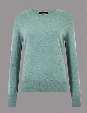 Pure Cashmere Round Neck Jumper, BLUE/GREEN, catlanding