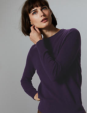 Pure Cashmere Round Neck Jumper, DEEP PURPLE, catlanding