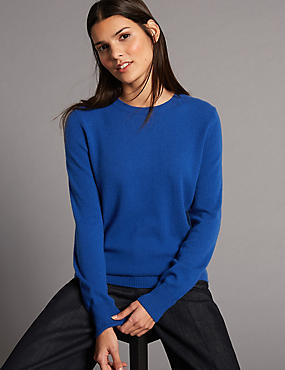 Pure Cashmere Ribbed Round Neck Jumper, BLUE BLUE, catlanding