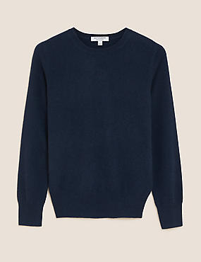 Pure Cashmere Ribbed Round Neck Jumper, MEDIUM NAVY, catlanding