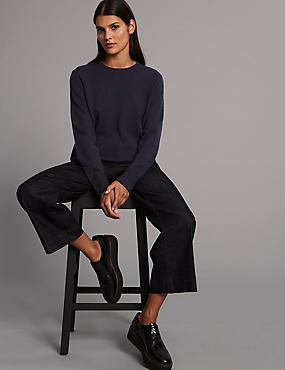 Pure Cashmere Ribbed Round Neck Jumper, DARK NAVY, catlanding