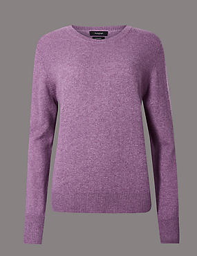 Pure Cashmere Ribbed Round Neck Jumper, LILAC, catlanding