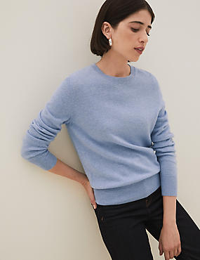 Pure Cashmere Ribbed Round Neck Jumper, BLUEBELL, catlanding