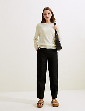Pure Cashmere Round Neck Jumper, CREAM, catlanding