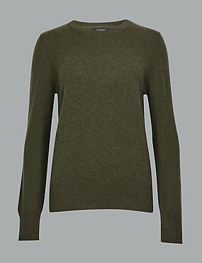 Pure Cashmere Round Neck Jumper, HUNTER GREEN, catlanding