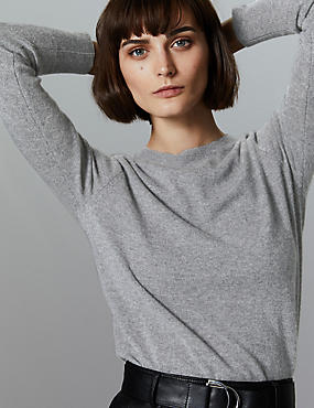Pure Cashmere Round Neck Jumper, DARK GREY, catlanding