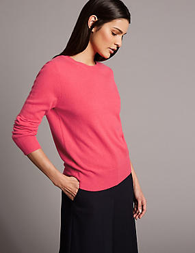 Pure Cashmere Ribbed Round Neck Jumper, LIPSTICK, catlanding