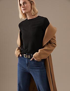 Pure Cashmere Round Neck Jumper, BLACK, catlanding