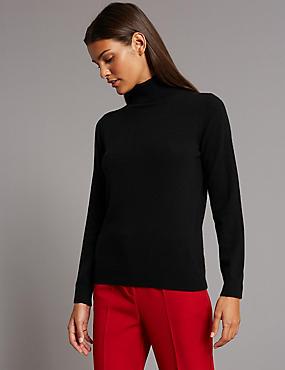Pure Cashmere Roll Neck Jumper, BLACK, catlanding