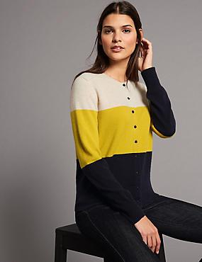 Pure Cashmere Colour Block Cardigan , NAVY MIX, catlanding